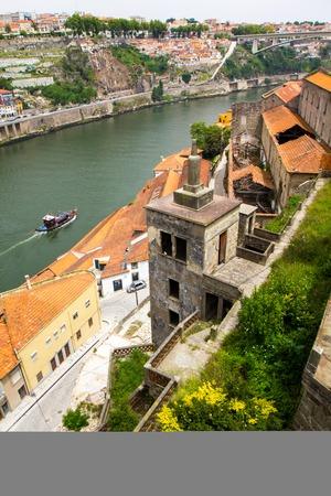 Ancient city Porto, river, boat