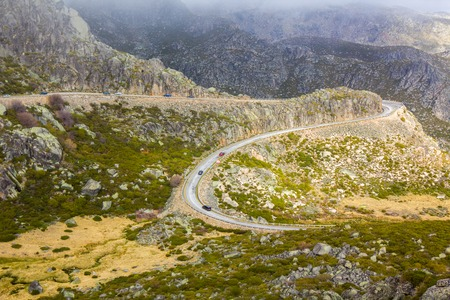 Mountain road Serra de Estrela, Portugal Stock Photo