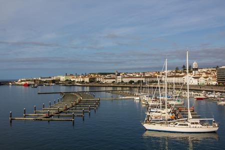 view marina of ponta delgada, Sao Miguel Island, Azores