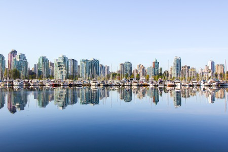 Panoramic view of Vancouver skyline as seen from Stanley Park, BC, Canada