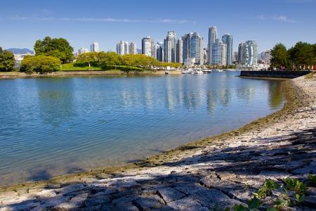 Panorama-Blick auf Vancouver Skyline von Stanley Park, BC, Kanada Lizenzfreie Bilder
