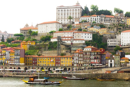 Ancient city Porto and traditional boats, Portugal Editorial