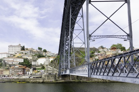 luis: A view of Ancient city Porto, Dom Luis Bridge Stock Photo