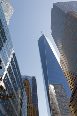 New York City Financial district cityscape with Freedom Tower