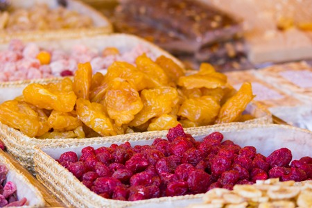Mix of different yellow red dried fruits