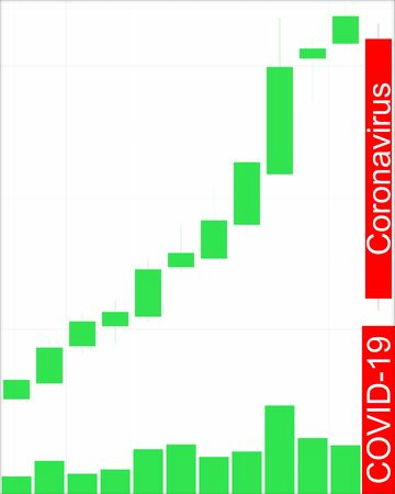COVID-19 coronavirus stock market crash. Candle chart and volumes. Vector illustration. Editable.