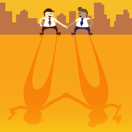 spiteful: Two business man shake hand with negative thinking Illustration