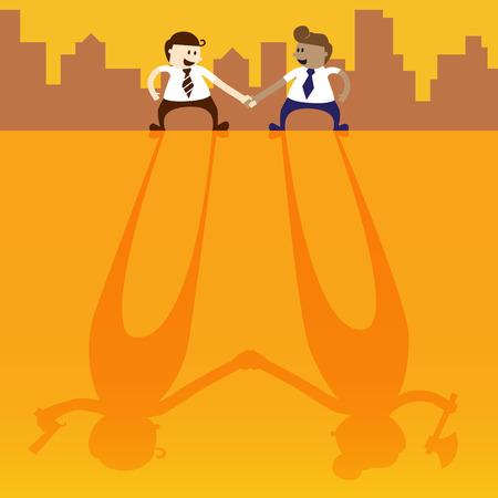 spiteful: Two business man shake hand with negative thinking Illustration