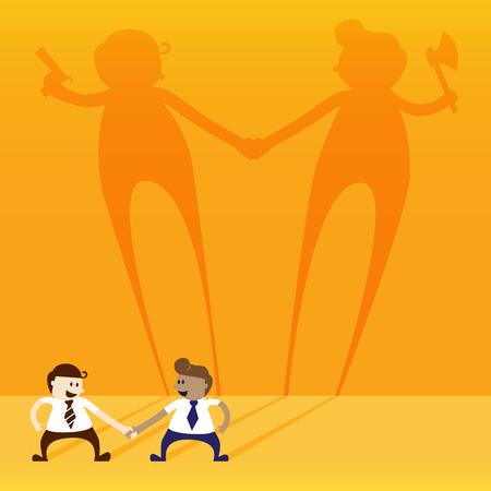 negative thinking: Deux homme d'affaires secouer la main avec la pens�e n�gative