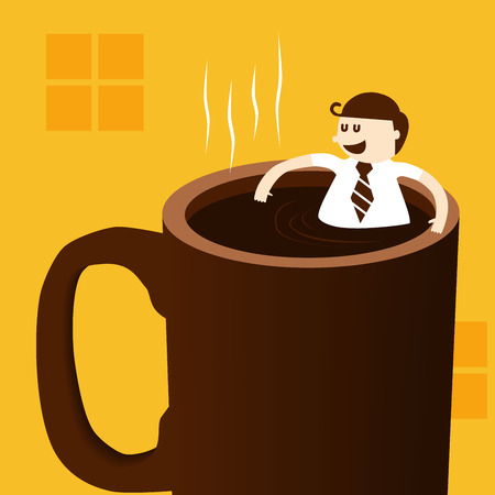 cartoon bathing: Business man taking bath and relaxing in coffee cup Illustration