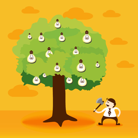 good investment: Business man using axe and light bulb idea tree Illustration