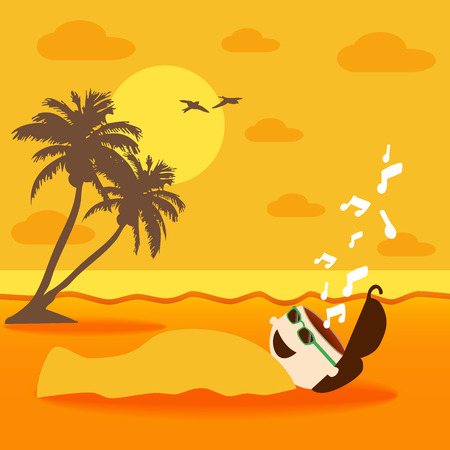 A man laying on the beach with sand treatment Vector