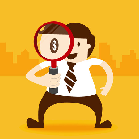 Business man looking with magnifier Stock Vector - 24065570
