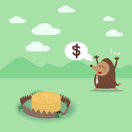 Mole see dollar coin in trap Vector