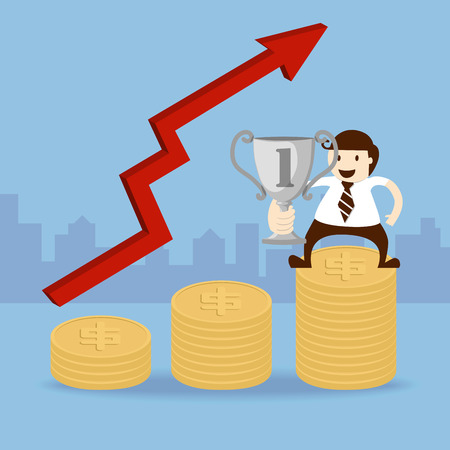 Business man hold trophy cup and dollar coin Vector