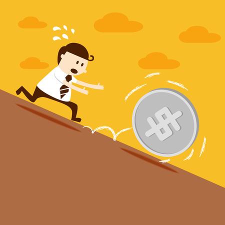 landslide: Business man run follow dollar coin Illustration