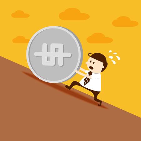 push up: Business man push dollar coin up