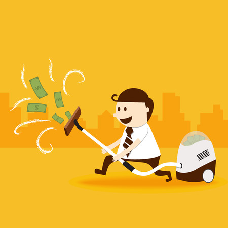 rich man: Business man use vacuum cleaner catch money Illustration