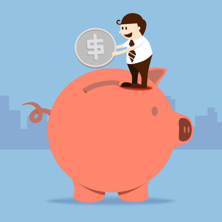 Business man put coin into piggy bank Vector