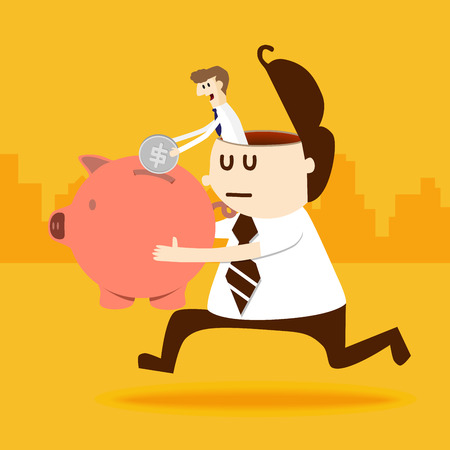 Business man in a man put coin into piggy bank Vector