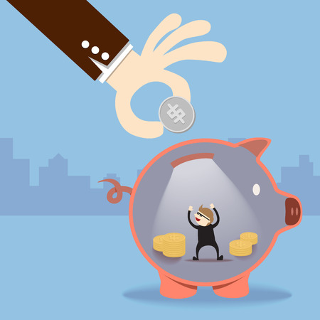 A thief steal money inside piggy bank Vector