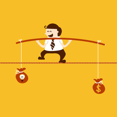 inconstant: Business man balancing on the rope with idea and money
