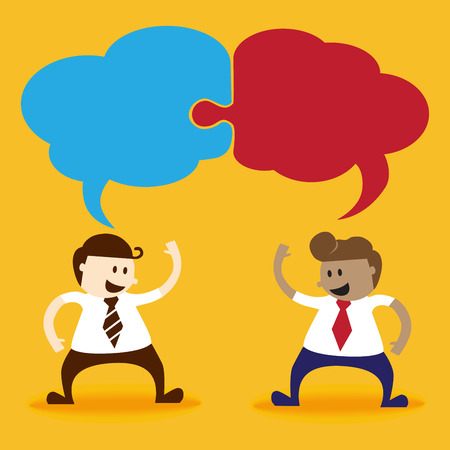 Two business men talk together with bubble speech Vector
