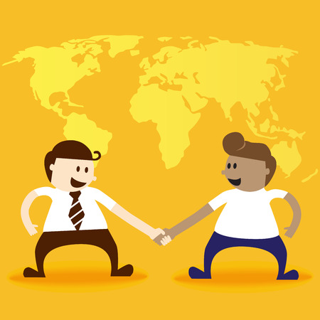 Two business men shake hand Vector