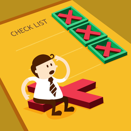 personal data: Business man and cross mark in check box