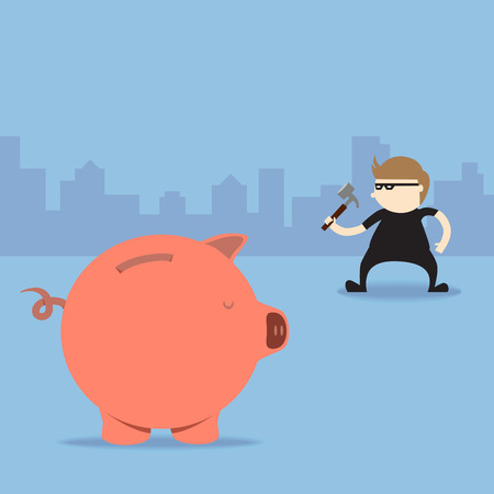 Thief use hammer to break piggy bank Vector