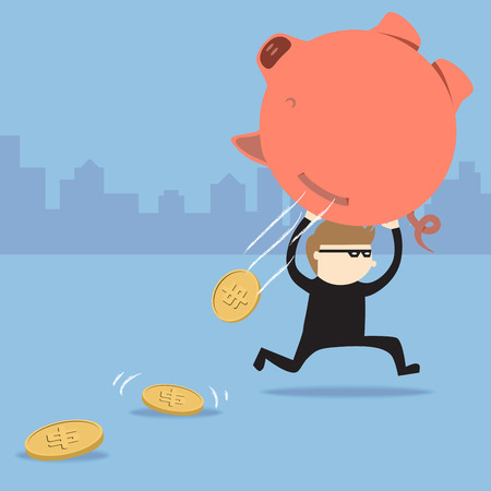 Thief steal piggy bank but coins fall out Vector