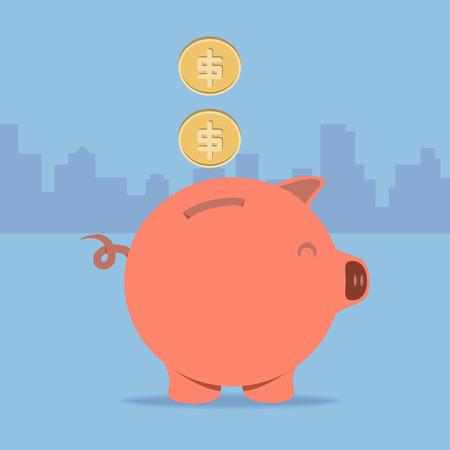 piggy bank: Dollar coin drop to piggy bank Illustration