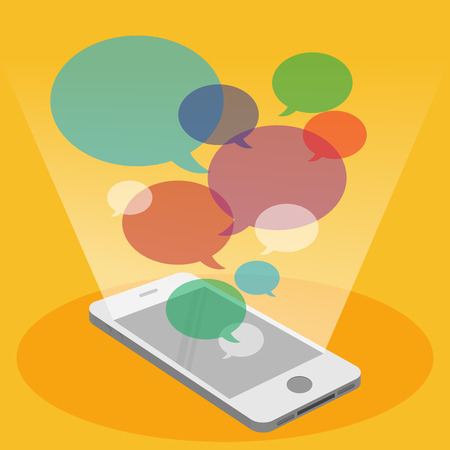 mobile sms: Mobile phone and colorful bubble speech Illustration