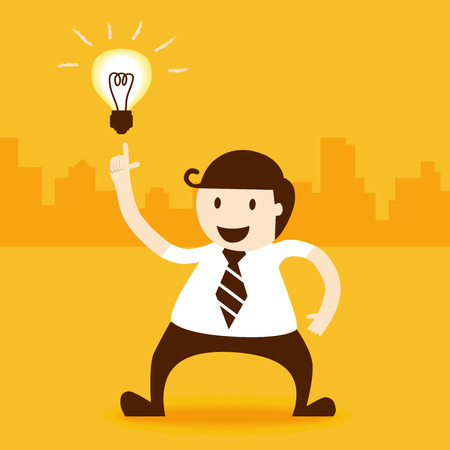 Business man index to light bulb idea Vector