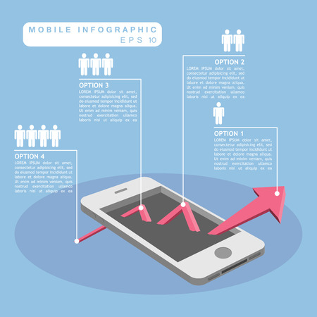 Mobile phone and up trend arrow graph infographic with human symbol Vector