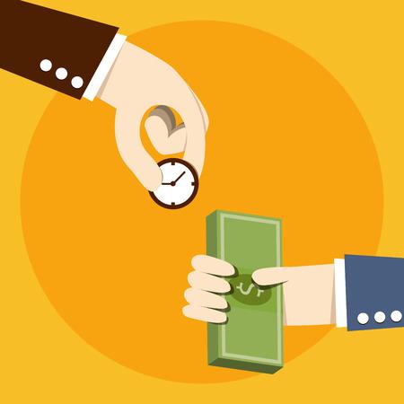 time money: Time exchange to money Illustration