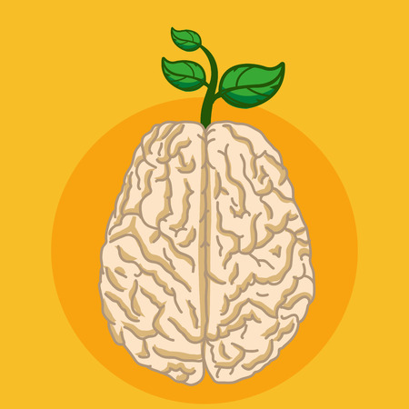 Green plant grow from human brain, Eco thinking concept Vector