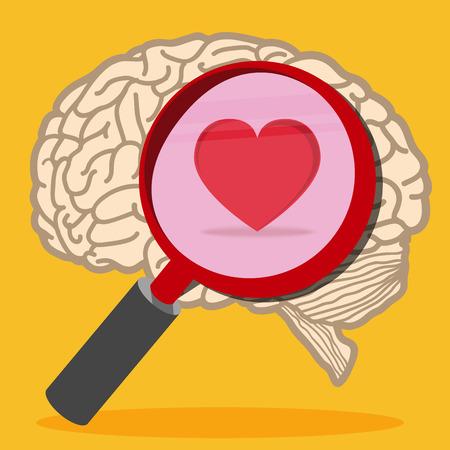 Herz im Inneren des Gehirns Illustration