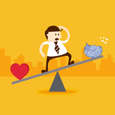Business man stand on seesaw balancing with heart and brain Vector