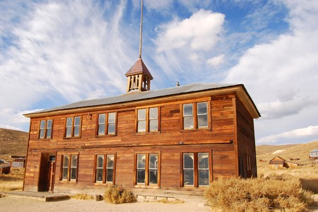 The schoolhouse at an old ghost town photo