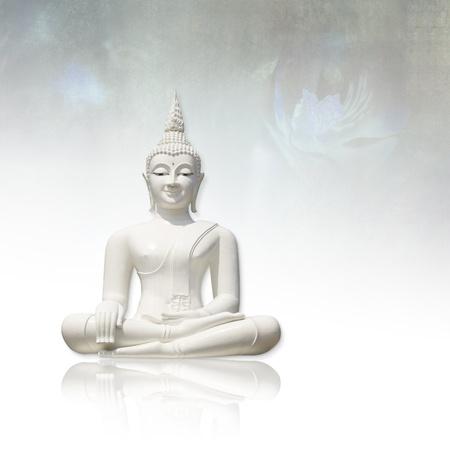 buddha face: White buddha     isolated against light grunge background Stock Photo