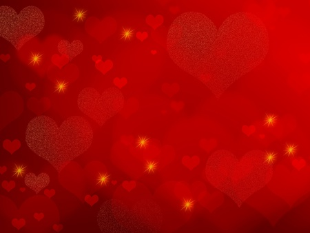 red  yellow: Red background with hearts and stars - abstract romantic design - also suitable for Valentine