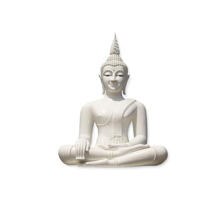 cabeza de buda: Buda blanco, aislado sobre fondo blanco   Foto de archivo