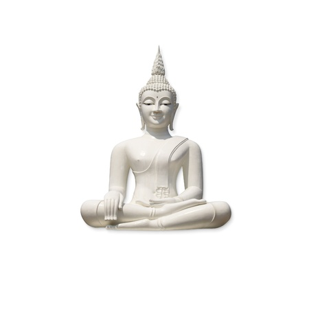 budda: White buddha, isolated against white background