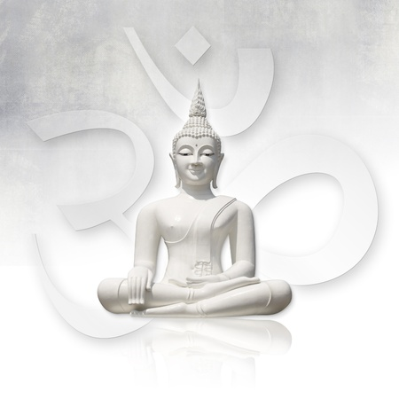 om symbol: Isolated white buddha (incl. clipping path), OM sign in background