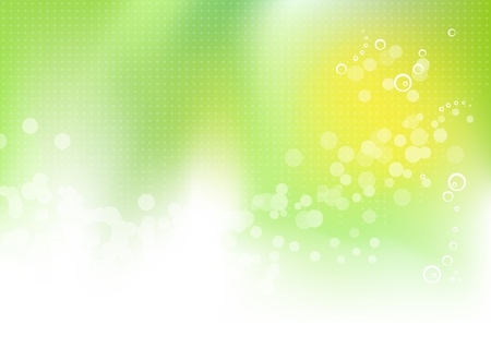 green and yellow: Abstract green floral spring background with green to white gradient, circles, dots and abstract sun - bokeh design - vector illustration