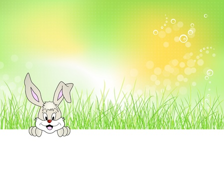 Bunny sitting in green grass - Easter background design - cute laughing rabbit Vector
