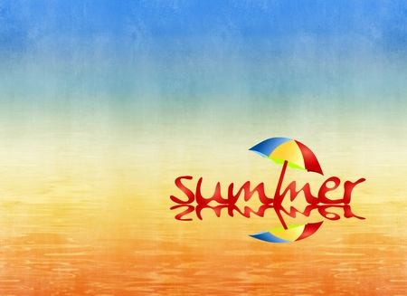 Grunge abstract beach background with word SUMMER and sunshade - colorful, vibrant design photo