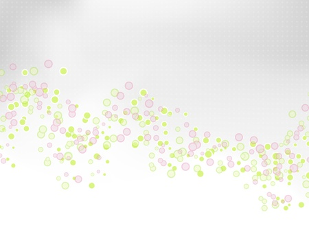 Light abstract spring and summer background with grey to white gradient and green and pink circles, dots and bubbles - greeting card design - vector illustration Stock Vector - 9471599