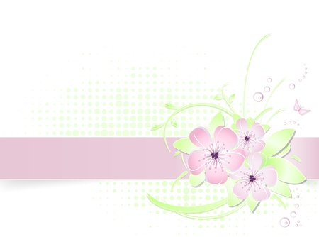 Light pink and green spring flower background - abstract floral greeting card design with banner - suitable for themes like summer, love, beauty, valentine, birthday, wedding and mother's day - vector illustration Stock Vector - 9491437